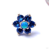 7 Stone Flower Press-fit End from LeRoi with Medium Blue & Blue Opal Stones