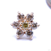 7 Stone Flower Press-fit End from LeRoi with Champagne & Yellow Stones