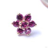 7 Stone Flower Press-fit End from LeRoi with Dark Ruby Stones