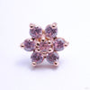 7 Stone Flower Press-fit End in Gold from LeRoi with Pink CZ Petals and Center