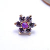 7 Stone Flower Press-fit End from LeRoi with Amethyst & Purple Opals