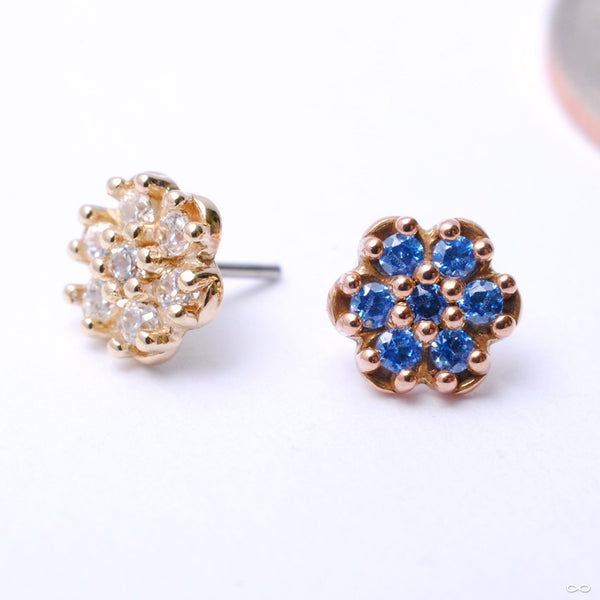 7 Stone Rounded Flower Press-fit End in Gold from LeRoi with Assorted Stones
