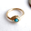 Nanda Pear Fixed Bead Ring in Gold from BVLA with Turquoise