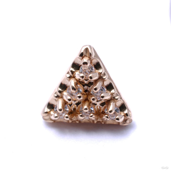 6 Stone Triangle Press-fit End in Gold from LeRoi with Clear CZ