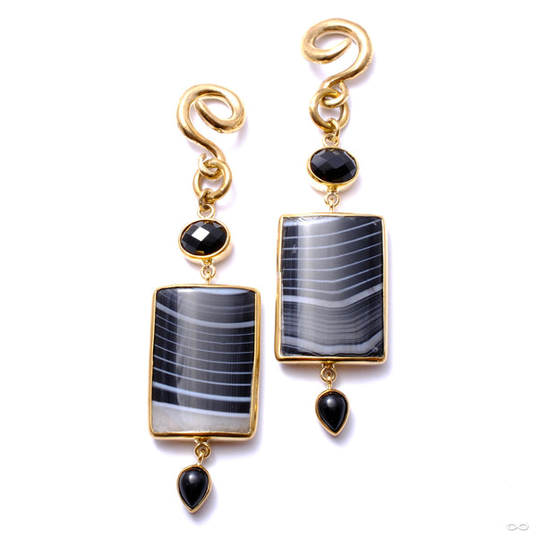 Banded Agate and Black Obsidian Dangles from Diablo Organics