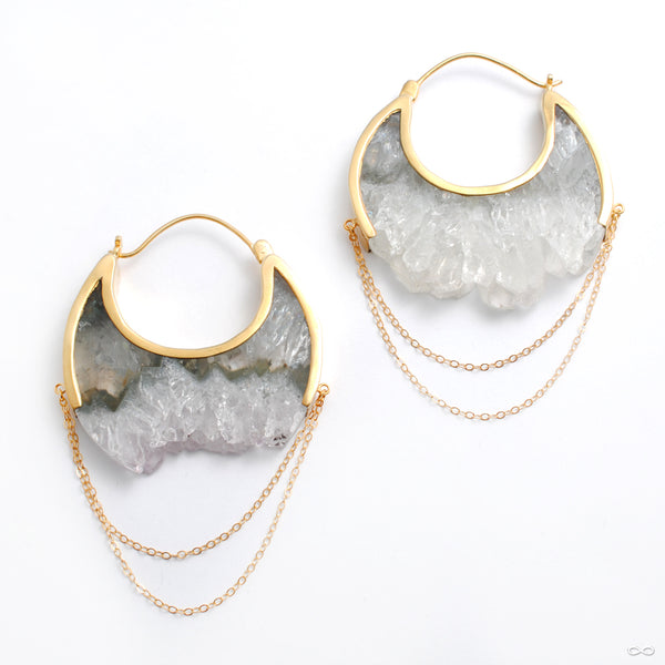 Moonstruck Earrings in Yellow Gold with Fluorite from Buddha Jewelry