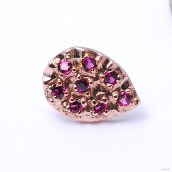 8 Stone Pear Press-fit End in Gold from LeRoiin dark ruby