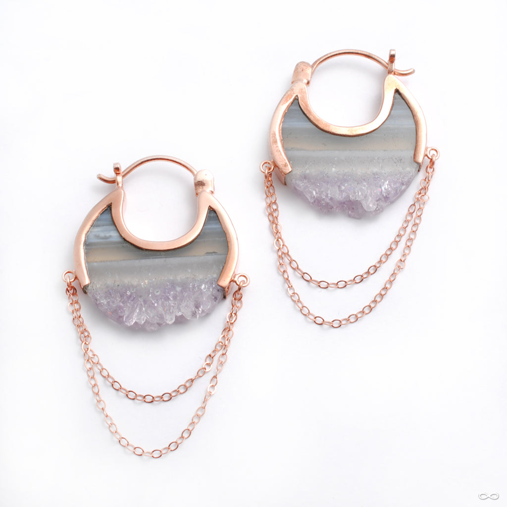 Small Moonstruck Earrings in Rose Gold with Striped Fluorite from Buddha Jewelry