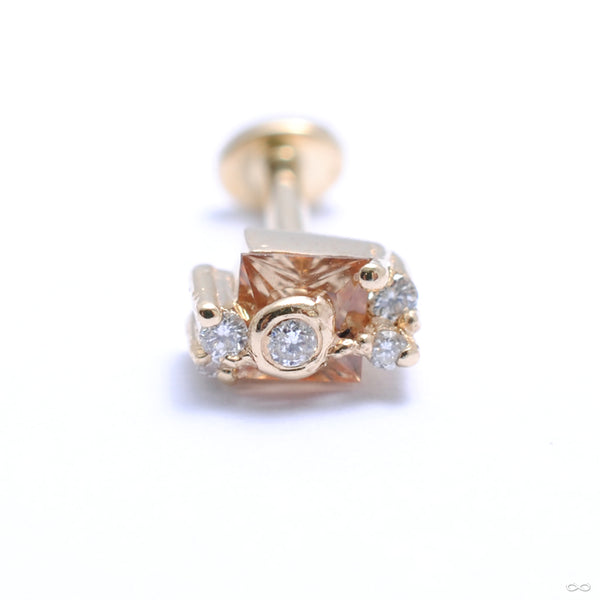 Abundance Threaded Stud in Gold from Pupil Hall with diamonds and sapphire