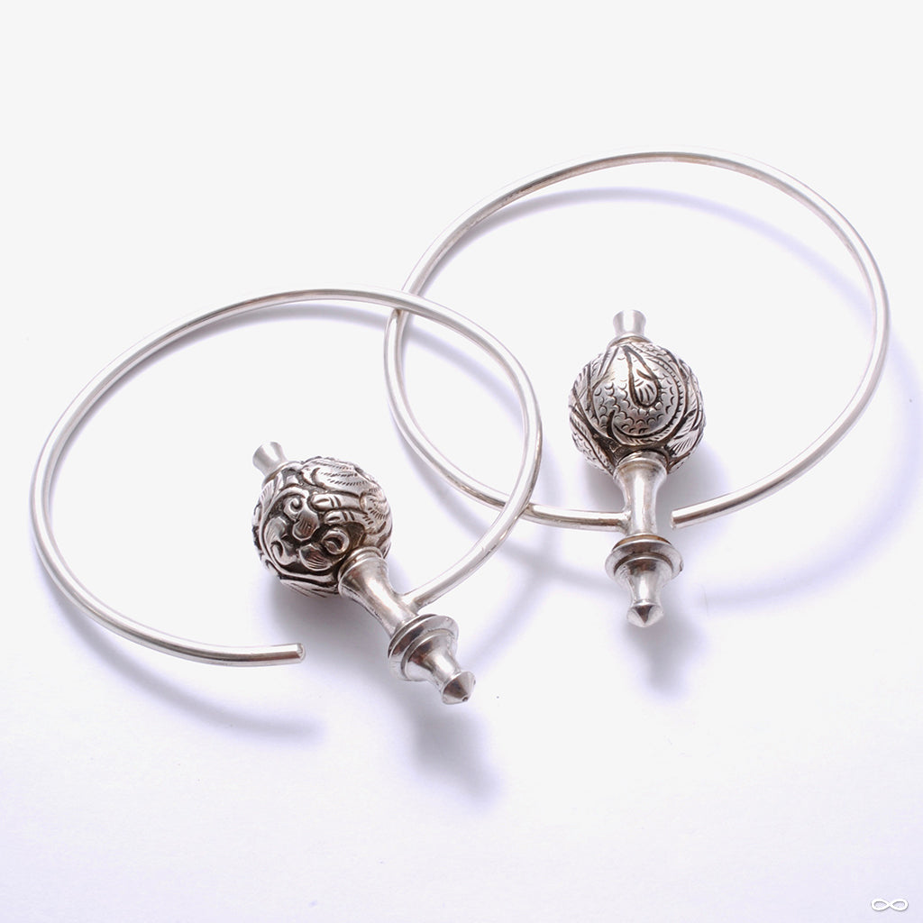 Asia Major Hoop Weights with Bali Filigree Beads from Morton Manley