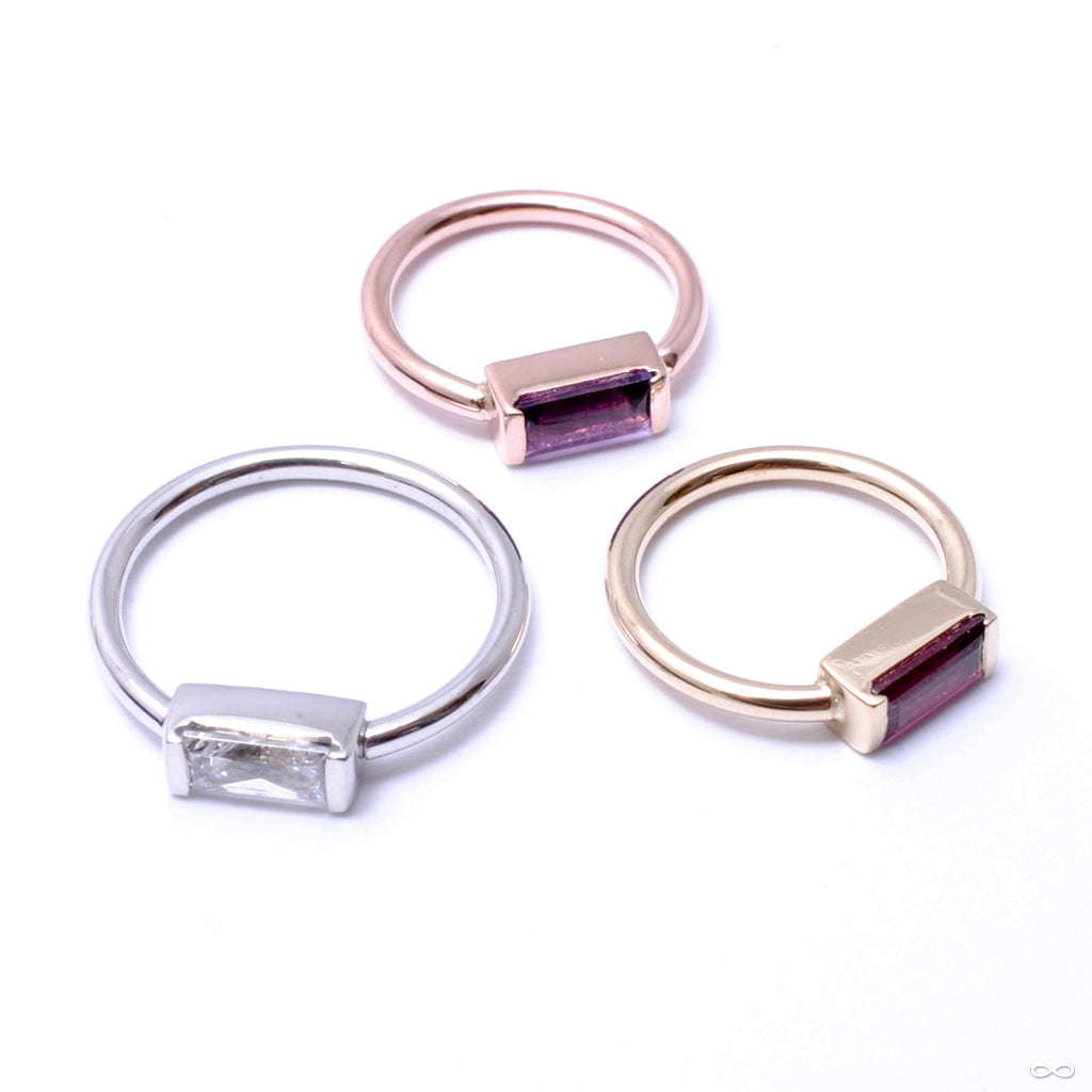Baguette Bar Seam Ring in Gold from BVLA with clear CZ