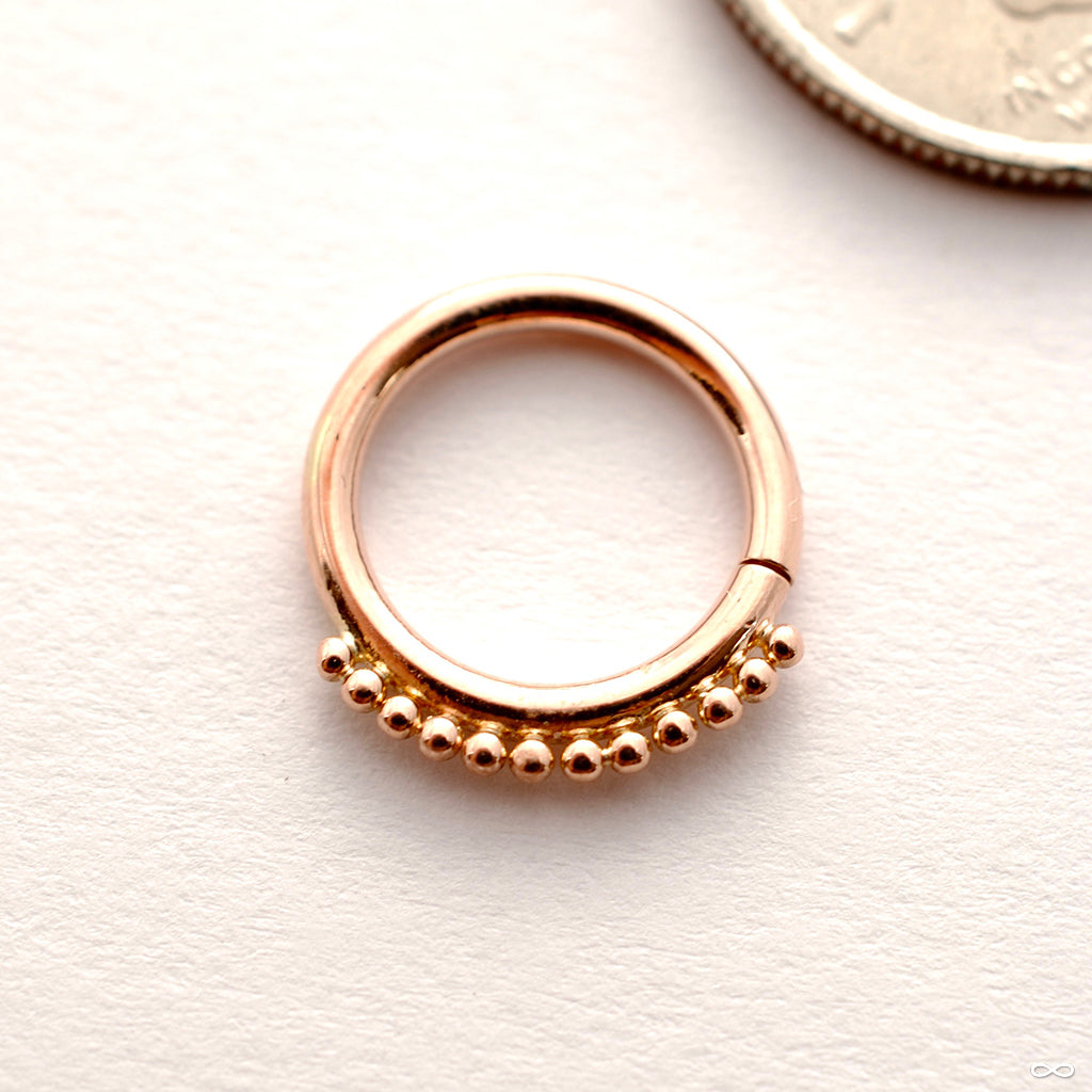 Beaded Seam Ring in Gold from Scylla in rose gold