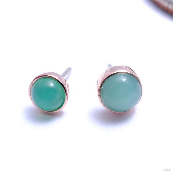 Bezel-set Cabochon Press-fit End in Gold from BVLA with chrysoprase
