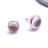 Bezel-set Cabochon Press-fit End in Gold from BVLA with rose quartz
