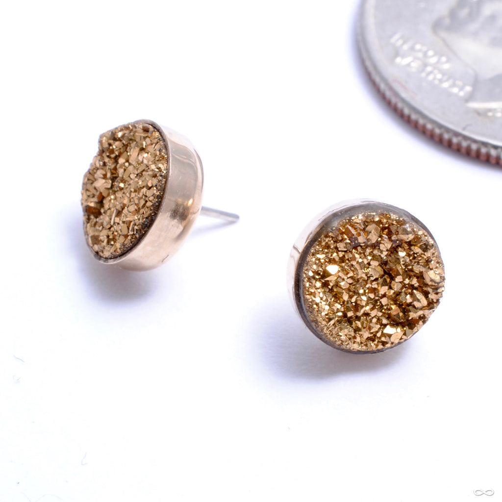 Bezel-set Pyrite Druzy Press-fit End in Gold from Datura Modified Design in yellow gold
