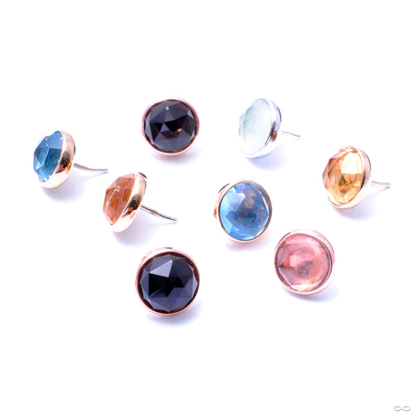 Bezel-set Rose-cut Cabochon Press-fit End in Gold from BVLA in assorted materials