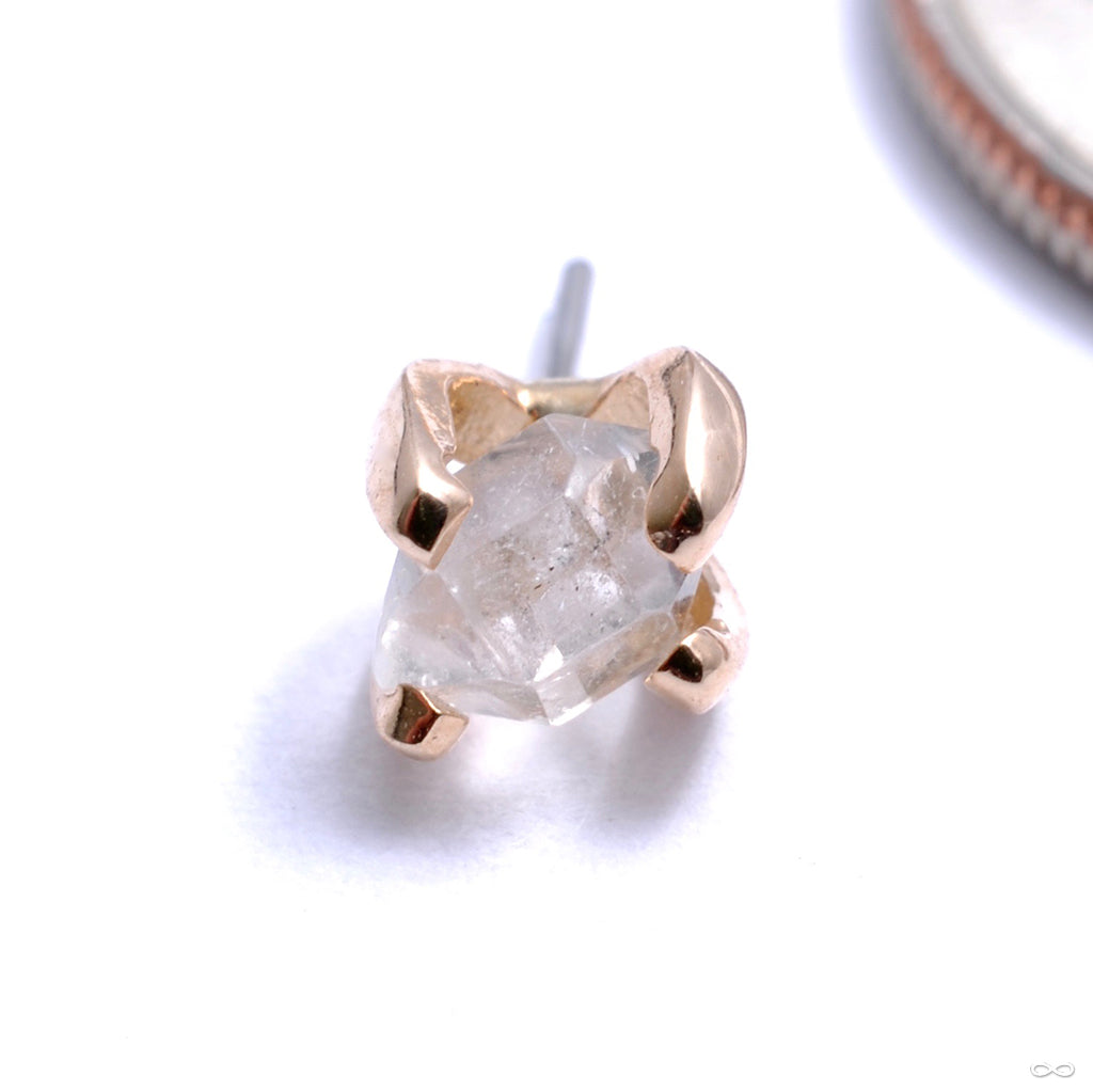 Bound By Love Press-fit End in Gold with Herkimer Diamond from Quetzalli