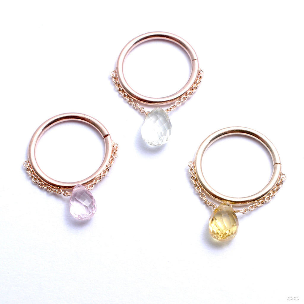 Briolette Seam Ring in Gold from Pupil Hall with pink sapphire