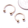 Circular Threaded Barbell with Balls in Gold from LeRoi in yellow gold