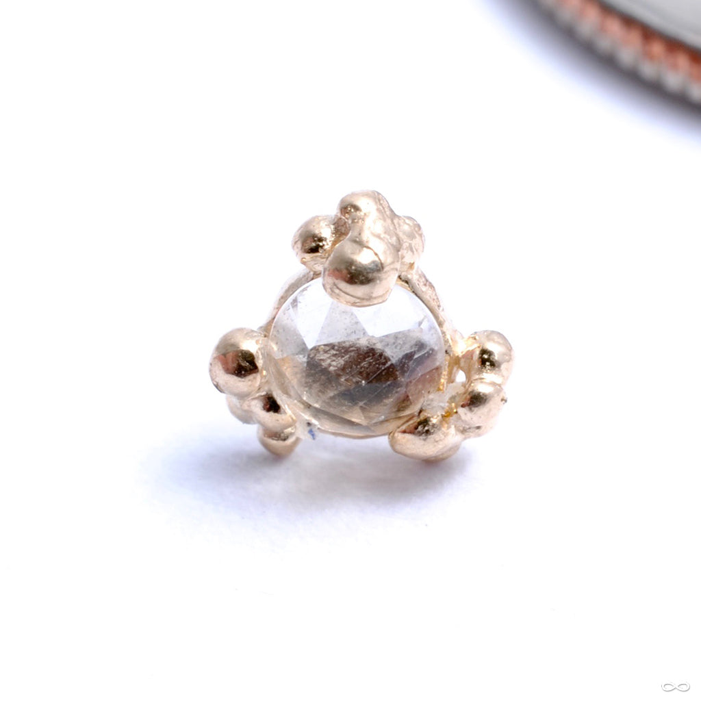 Beaded Cleo Press-fit End in Gold from Pupil Hall with white topaz