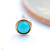 Bezel-set Cabochon Press-fit End in Gold from BVLA with turquoise