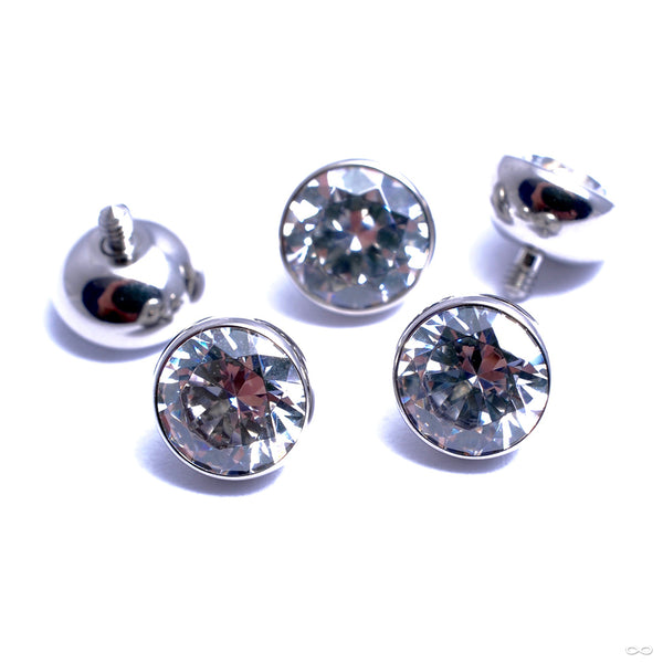 Extreme Low Profile Gem Ball Threaded End in Titanium from Industrial Strength with clear CZ