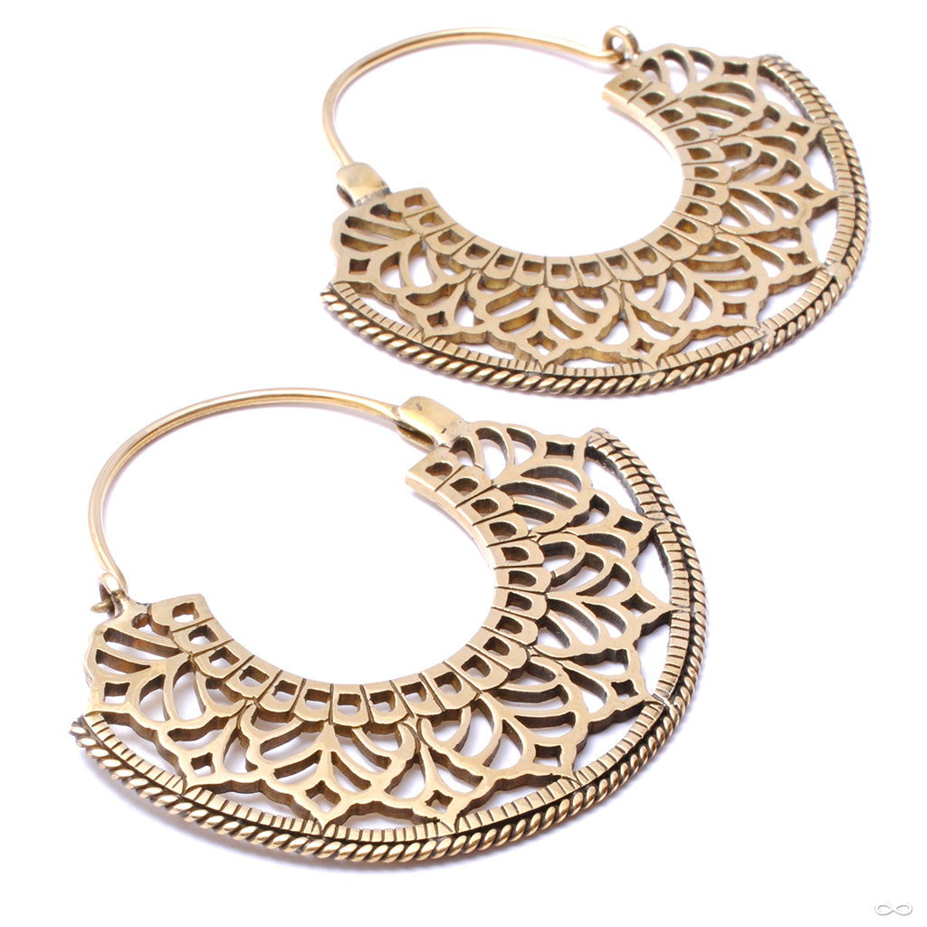 Fan Hoop Earrings from Diablo Organics in brass