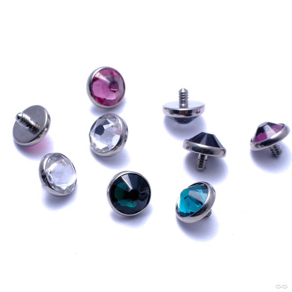 Flat Back Faceted Gem Threaded End in Titanium from Industrial Strength in assorted materials
