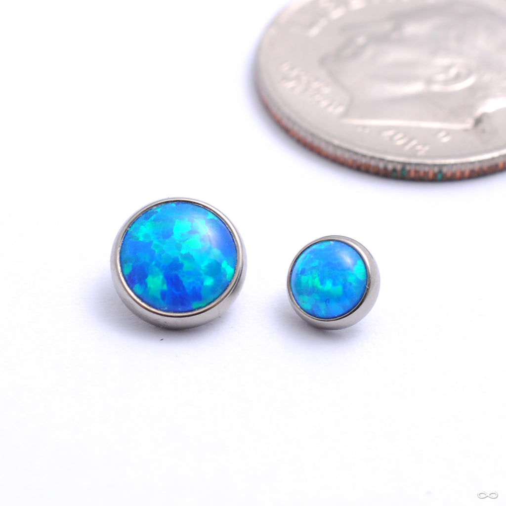 Flat Back Faux-pal Cabochon Threaded End in Titanium from Industrial Strength with capri blue opal