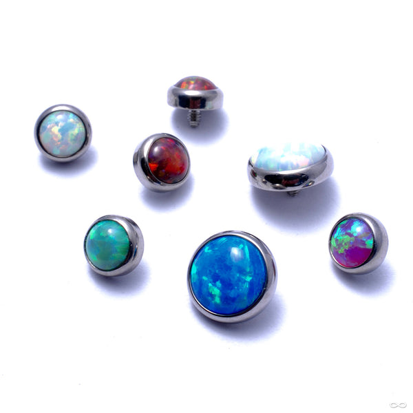 Flat Back Faux-pal Cabochon Threaded End in Titanium from Industrial Strength in assorted materials