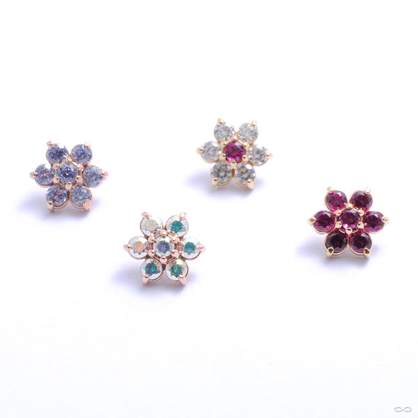 Flower Threaded End in Gold from Anatometal in assorted materials
