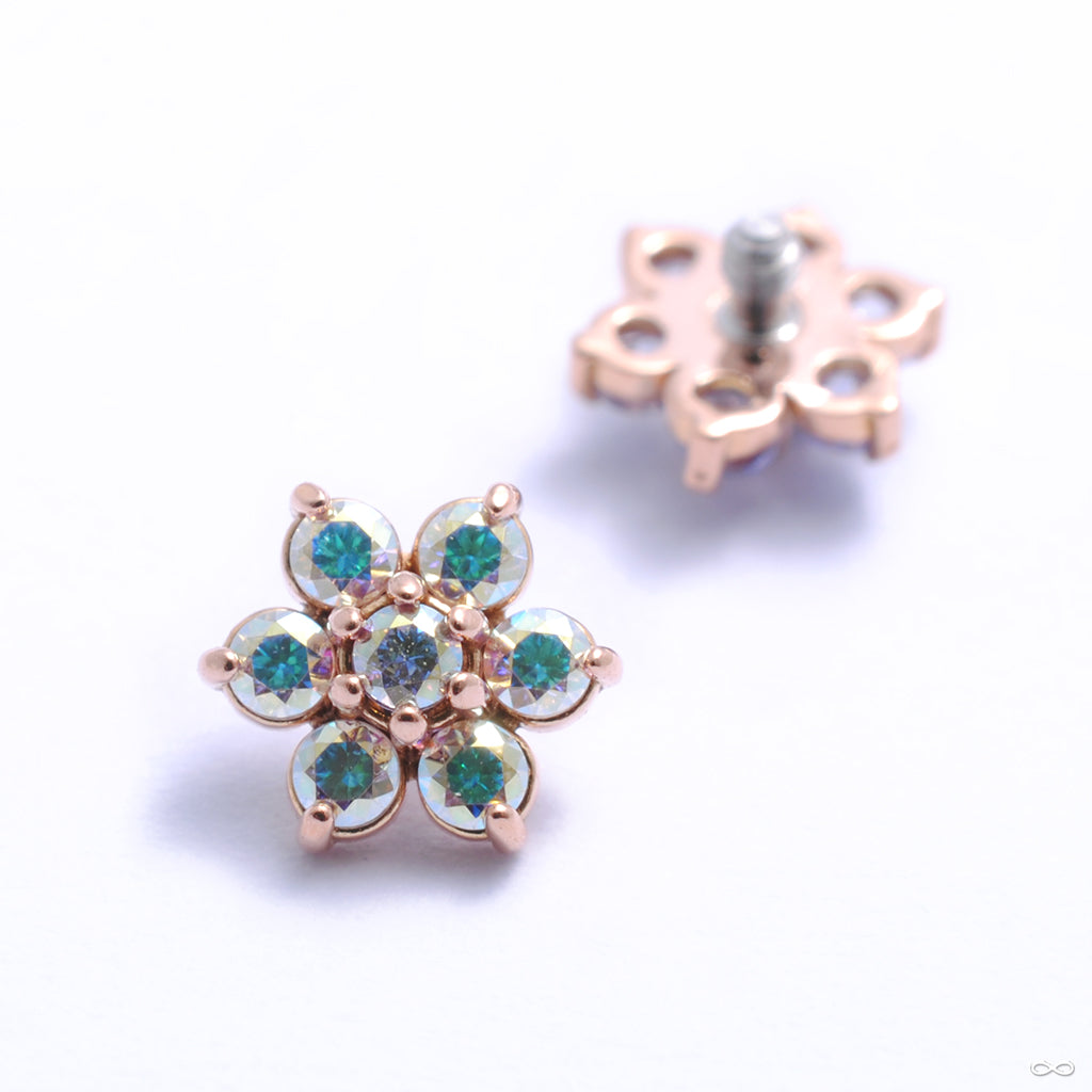 Flower Threaded End in Gold from Anatometal with aurora borealis