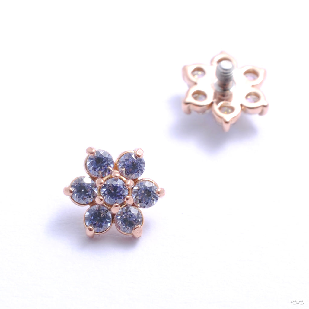 Flower Threaded End in Gold from Anatometal with tanzanite