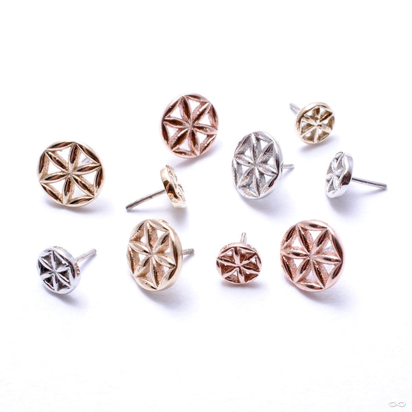 Flower of Life Press-fit End in Gold from BVLA in assorted materials