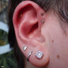 Forward helix piercing with Hammered Disk Press-fit End in Gold from BVLA