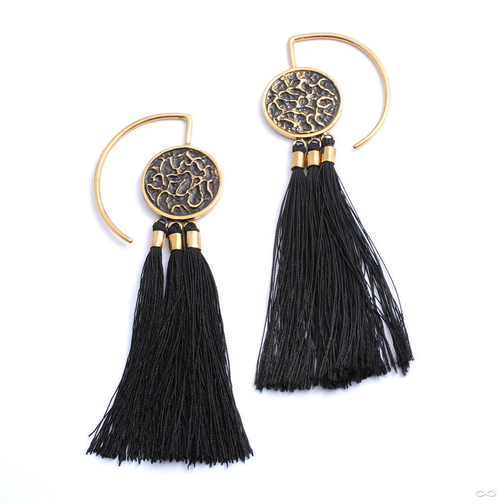 Full Moon Hoops with Fringe from Tawapa in white brass