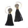 Full Moon Hoops with Fringe from Tawapa in brass
