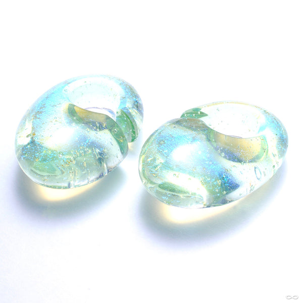 Fused Dichroic Ovoid Weights from Gorilla Glass in Green Gold