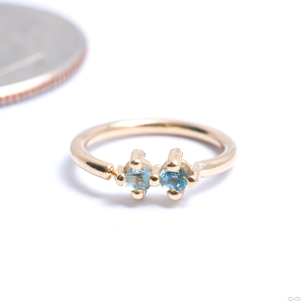 Gala Fixed Bead Ring in Gold from Quetzalli with sky blue topaz