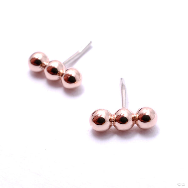 Linear Tri Bead Press-fit End in Gold from BVLA in rose gold