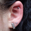 Outer helix piercing with 7 Stone Flower Press-fit End in Gold from LeRoi in Black CZ & Champagne CZ