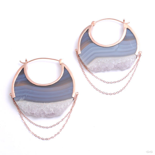 Moonstruck Earrings in Rose Gold with Banded Fluorite from Buddha Jewelry
