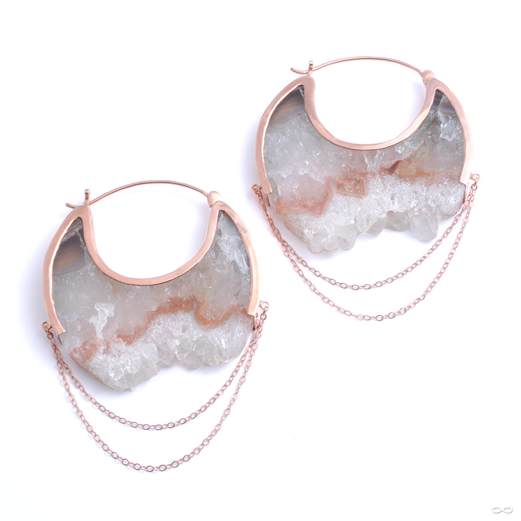 Moonstruck Earrings in Rose Gold with Fluorite from Buddha Jewelry