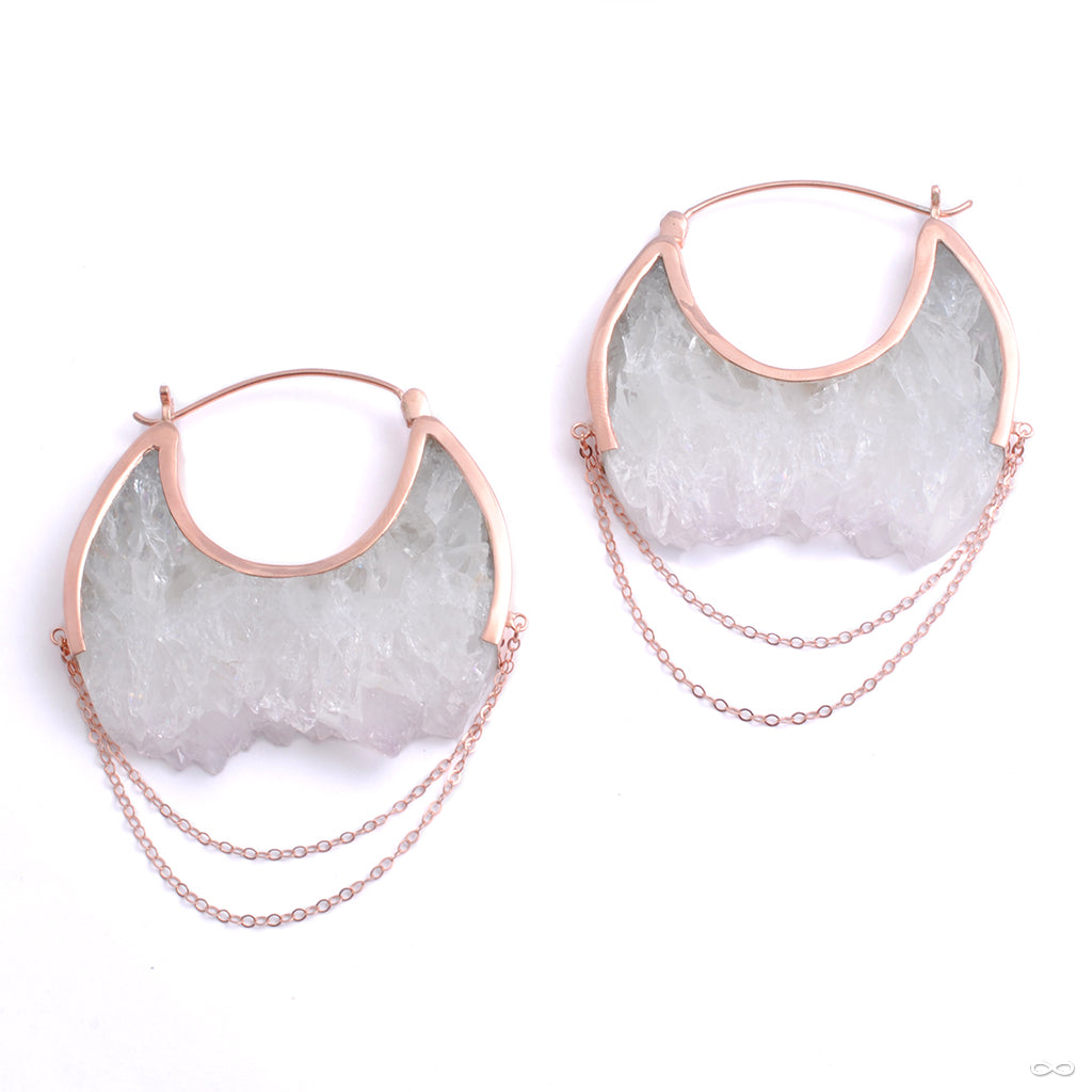 Moonstruck Earrings in Rose Gold with White Fluorite from Buddha Jewelry