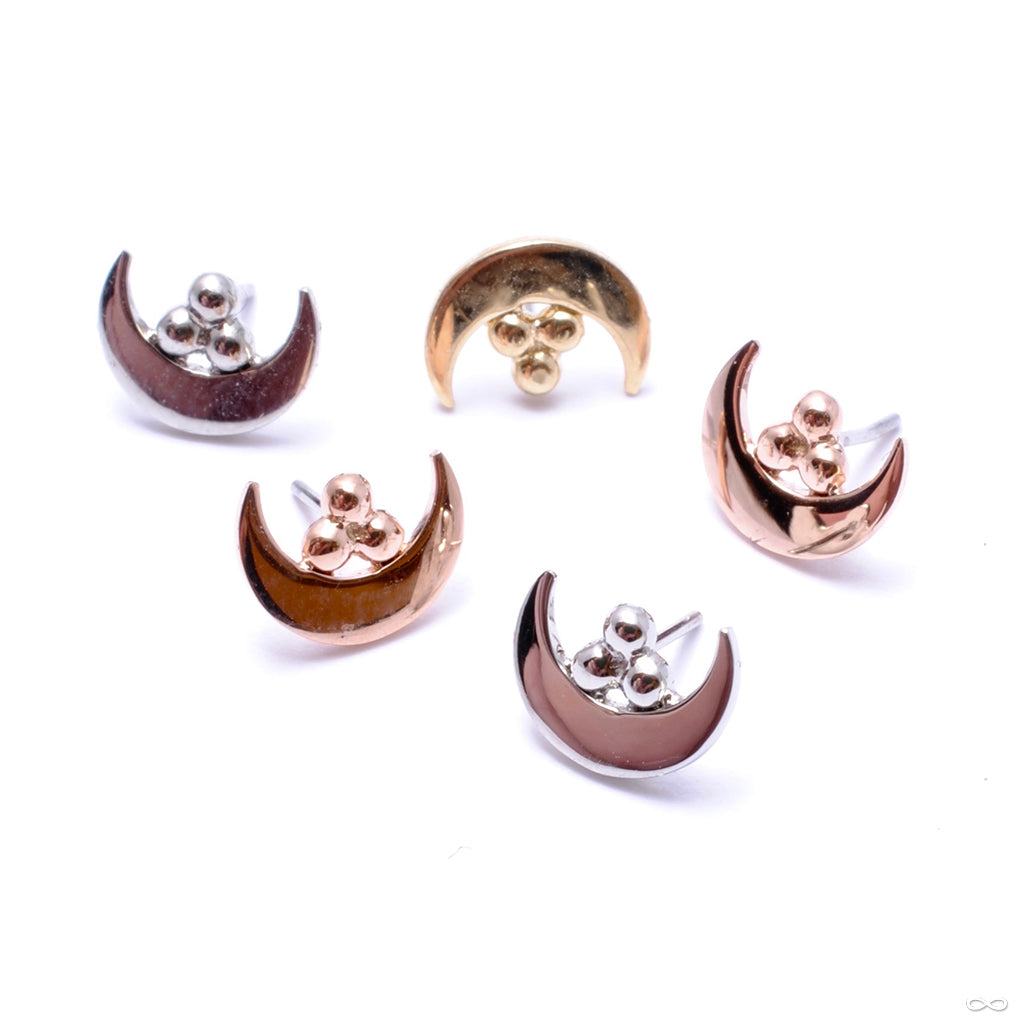Moon with Tri-Bead Cluster Press-fit End in Gold from Anatometal in rose gold