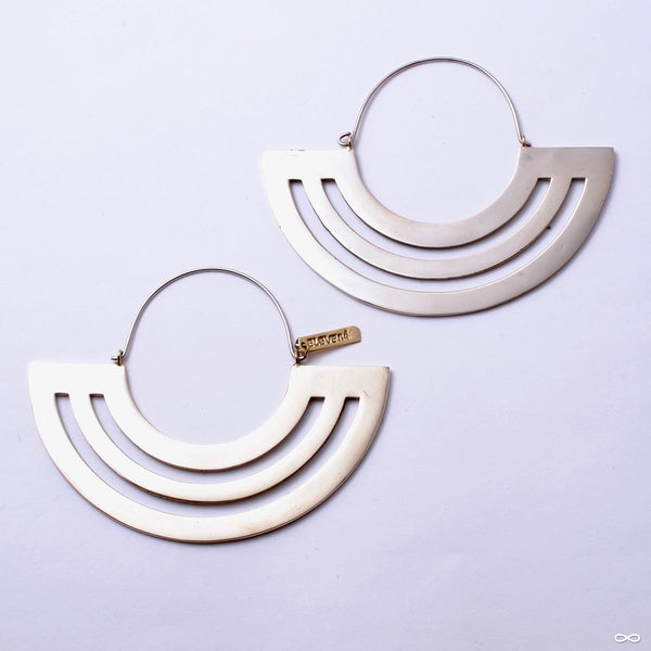 Parallel Lines Hoop Earrings from Eleven44 in white brass