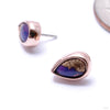 Pear Cab Bezel Press-fit End in Gold from BVLA with purple copper turquoise