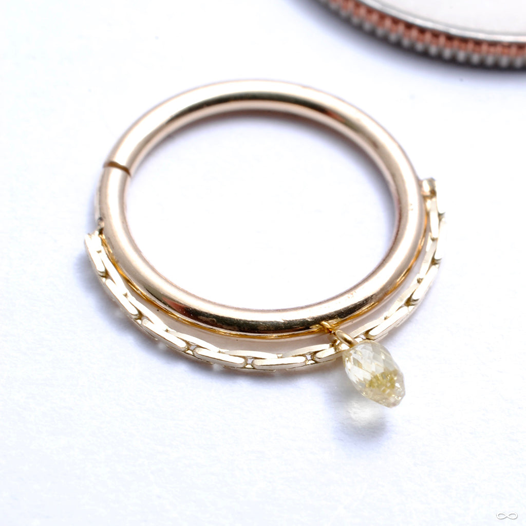 Petite Briolette Seam Ring in Gold from Pupil Hall with white topaz
