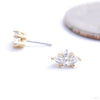 Prong-set Marquise Press-fit End in Gold from Anatometal with clear CZ
