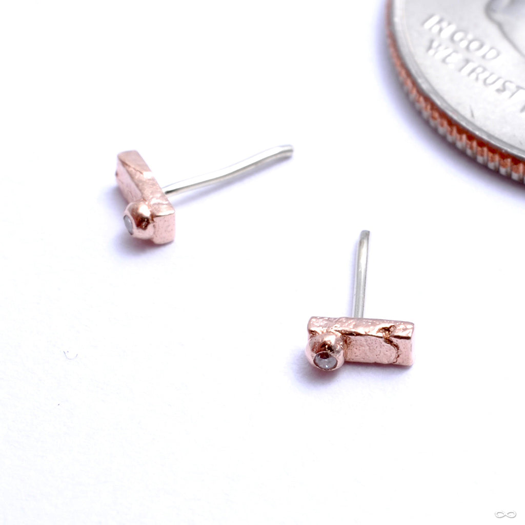 Rectangle With Stone Dottie Press-fit End in Gold from Pupil Hall in rose gold